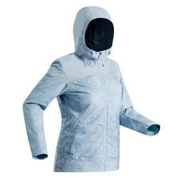 Chaqueta cálida impermeable de senderismo nieve mujer SH100 x-warm azul hielo