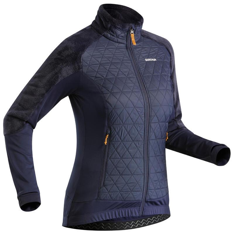 Warme, hybride fleece wandeljas voor dames SH900 X-WARM