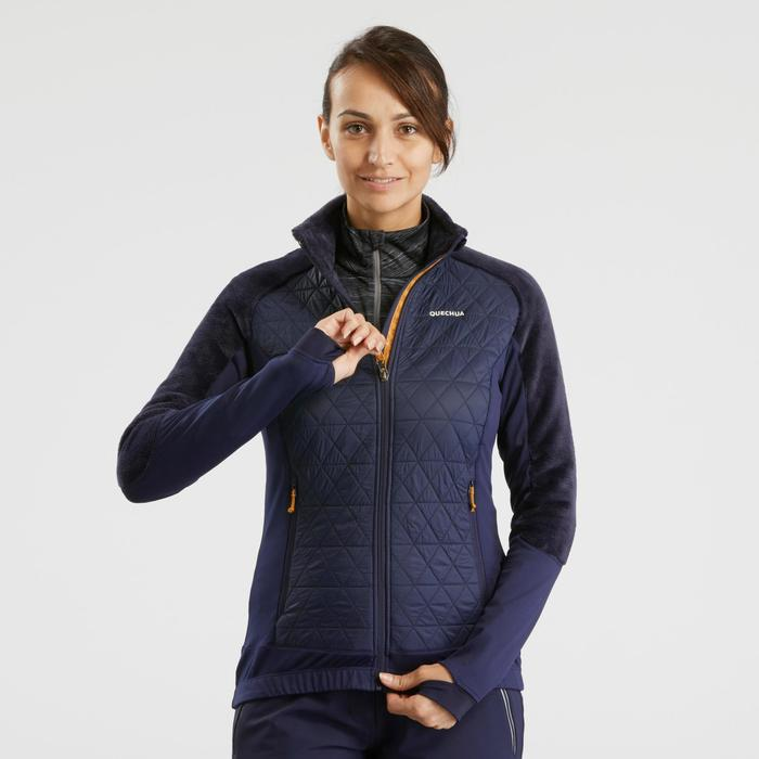 Hybride fleece jas voor sneeuwwandelen dames SH900 X-warm blauw