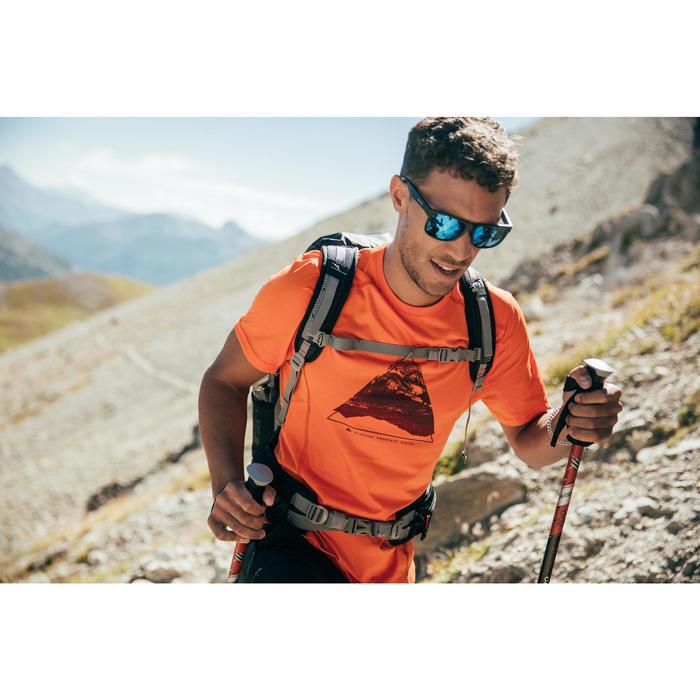 Wandelshirt voor bergtochten MH500 korte mouwen heren oranje print