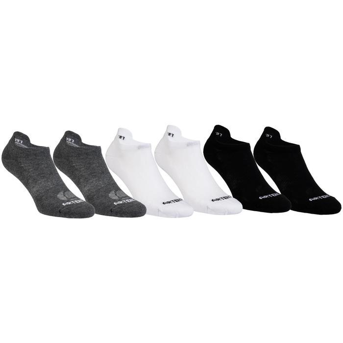 Lage sportsokken Artengo RS160 gemêleerd grijs zwart wit 6 paar