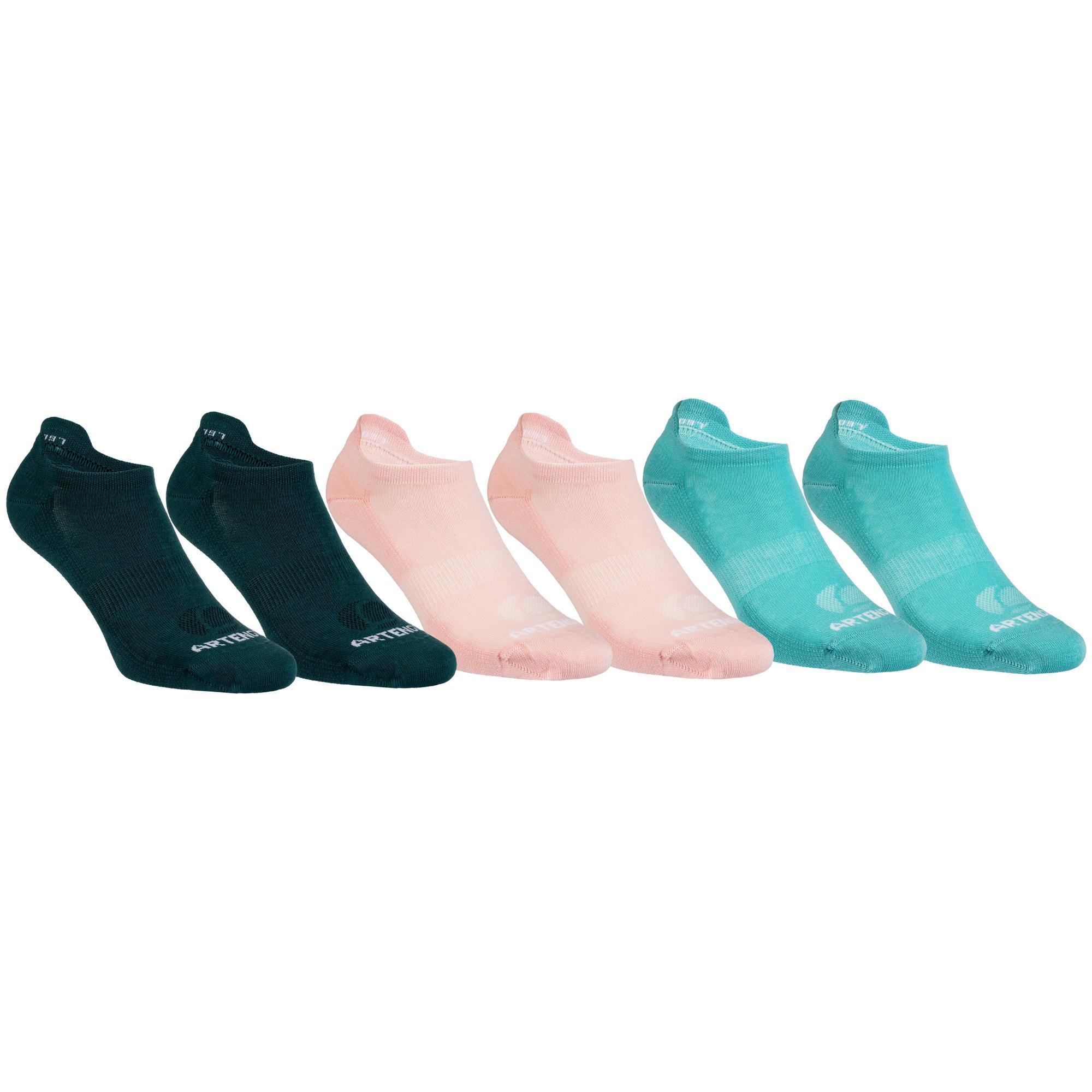 Tennissocken RS160 Low Erwachsene 6er-Pack grün/rosa | Sportbekleidung > Funktionswäsche > Sportsocken | Baumwolle | Artengo