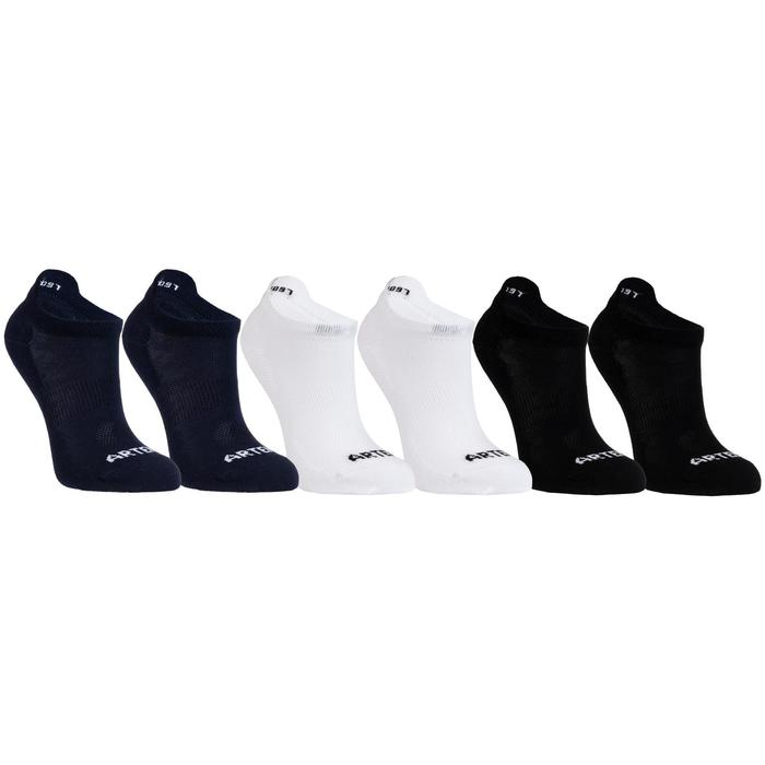 CHAUSSETTES DE SPORT JUNIOR BASSES ARTENGO RS 160 NAVY BLANC NOIR LOT DE 6