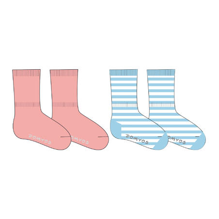 Mid Socks 100 Twin-Pack - Pink/Sky Blue Stripes