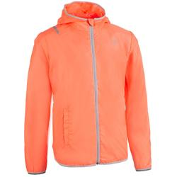 Lauf-Windjacke Leichtathletik Kinder orange/grau