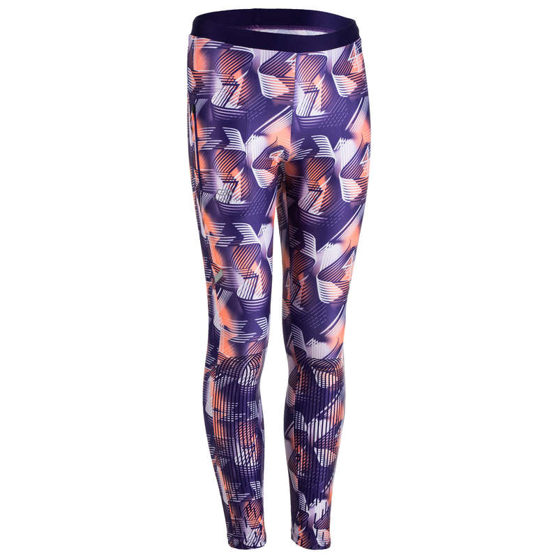 KIDS ATHLETICS CLOTHES ACCESS Clothing - At Tights 100 - Purple Print KALENJI - By Sport