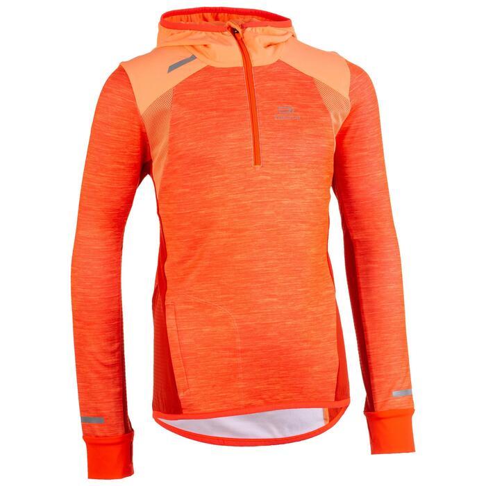 兒童田徑保暖長袖運動衫Kiprun - 珊瑚紅