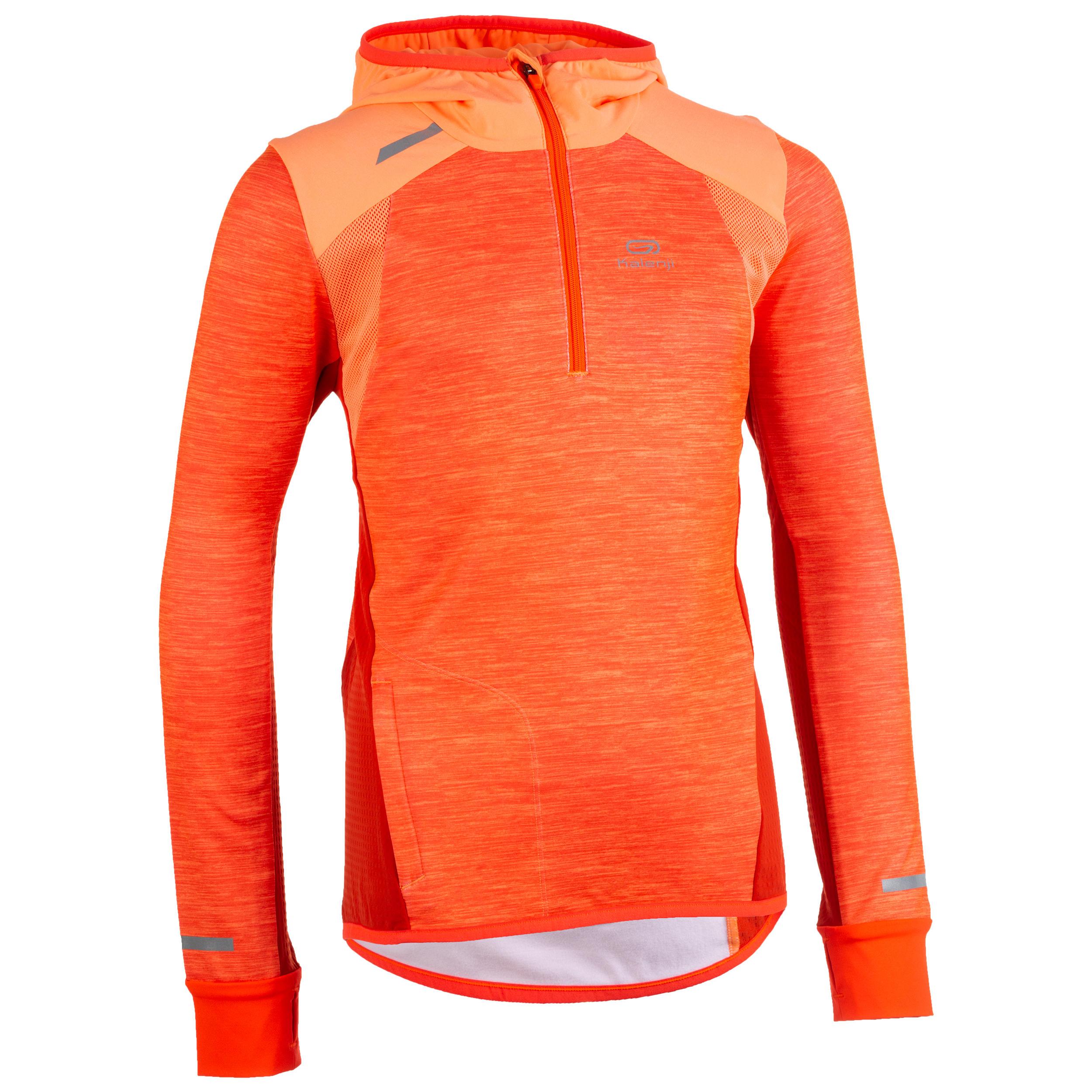 Maillot manches longues athlétisme enfant kiprun chaud corail et rouge kalenji