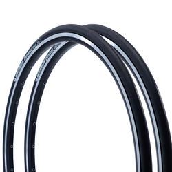 Buitenband racefiets, Set van 2 Dynamic Sport banden zwart 700x25 ETRTO 25-622