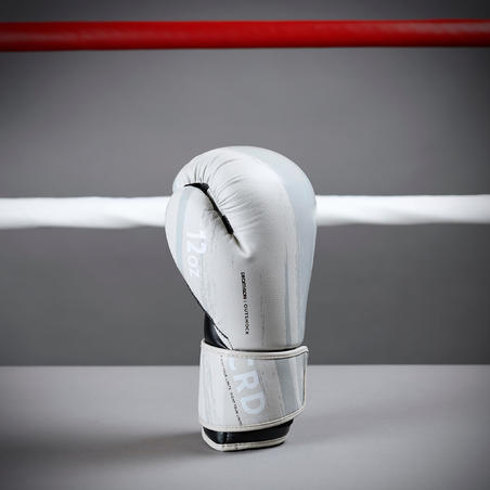 gants de boxe 300 beige, gants d'entraînement débutant homme ou femme