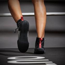 Chaussures de boxe anglaise 500 grises, légères et flexibles