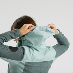 女款超保暖雪地健行刷毛外套SH500-灰色/綠色