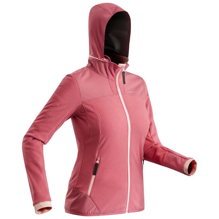 女款超保暖雪地健行外套SH500-粉紅色