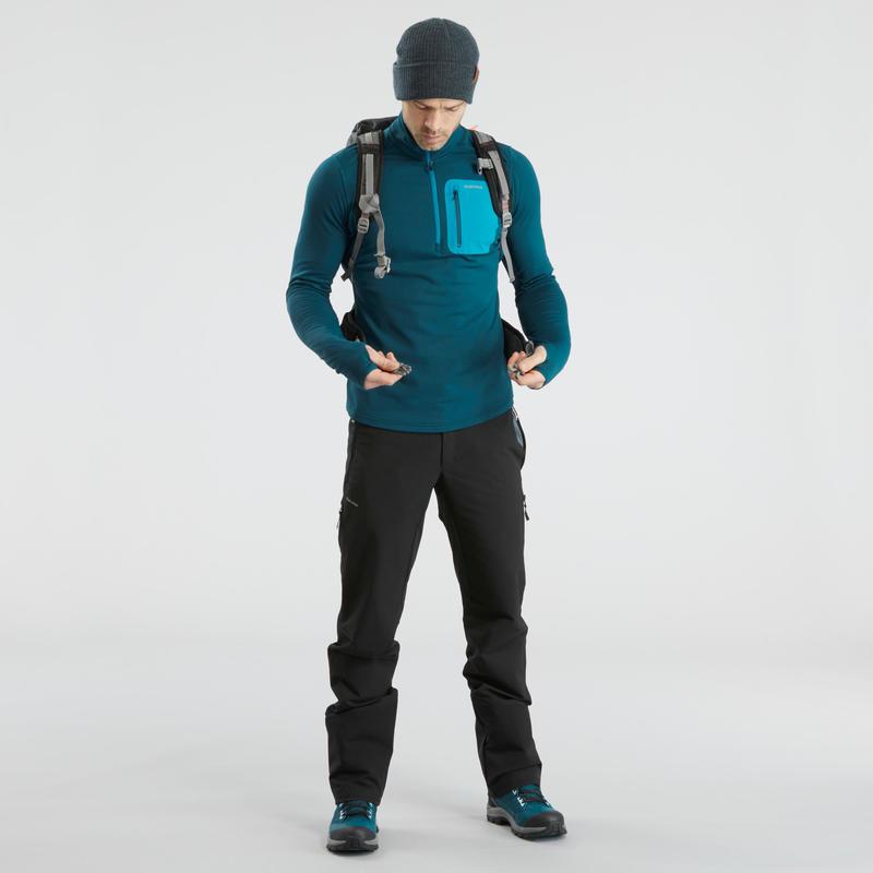 T-shirt de randonnée neige manches longues homme SH500 chaud bleu.