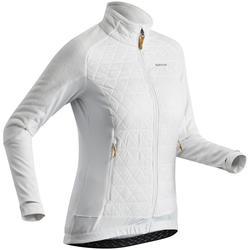 Chaqueta polar híbrida de senderismo nieve mujer SH900 x-warm blanco