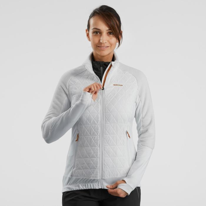 Veste polaire hybride de randonnée neige femme SH900 X-warm blanc