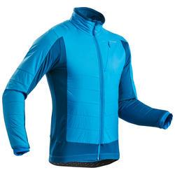 男款超保暖雪地健行混合刷毛外套SH900-藍色。
