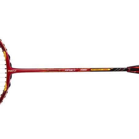 Raquette de badminton adulte BR 990P - rouge/orange