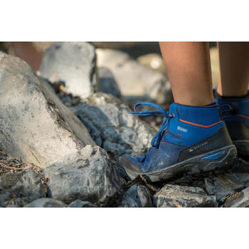 Kids' Waterproof Hiking Boots MH120 MID 35 to 38 - Grey