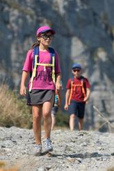 Jupe short de randonnée enfant MH100 grise et rose 7 à 15 ANS