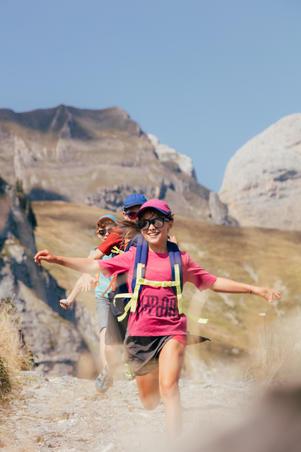 Falda-short de senderismo junior MH100 gris y rosa 7 a 15 años