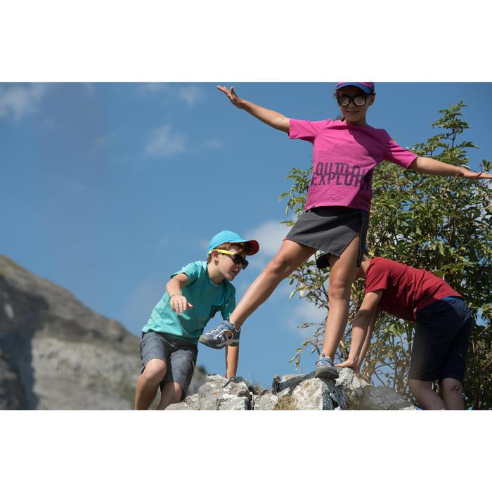 兒童款健行運動涼鞋MH150-灰色/粉紅色