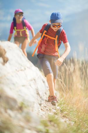 Дитячі низькі черевики MH120 для туризму, на шнурівках - Сірі