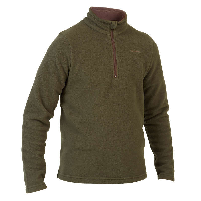 JUNIOR CLOTHING Shooting and Hunting - FLEECE 1/2 ZIP 100 JR GREEN SOLOGNAC - Hunting and Shooting Clothing