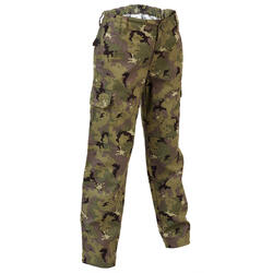 Pantalon chasse résistant junior camouflage island vert