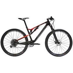 """Bicicleta Mtb Doble Suspensión Rockrider XC 900S 29"""" Carbono Rojo y Negro"""