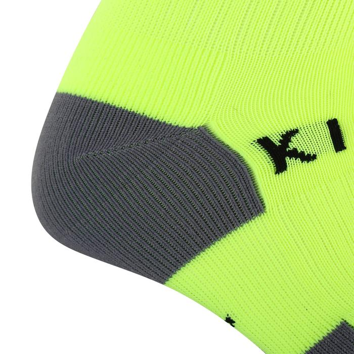 Kids' Football Socks F500 - Neon Yellow with Stripes