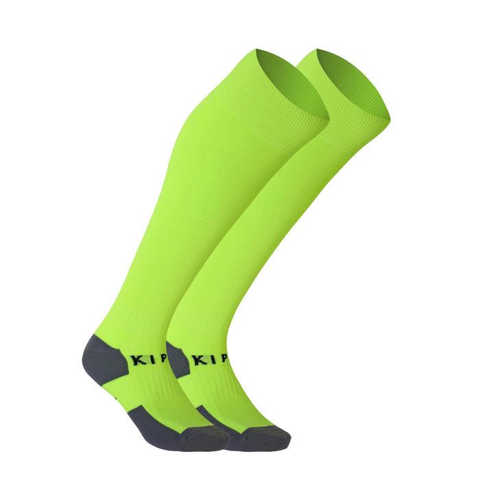F500 Kids' Football Socks - Neon Yellow Stripe