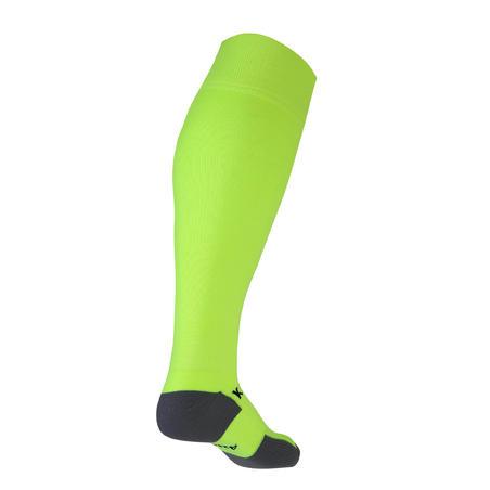 Kids' Football Socks F500 - Neon Yellow with Stripes
