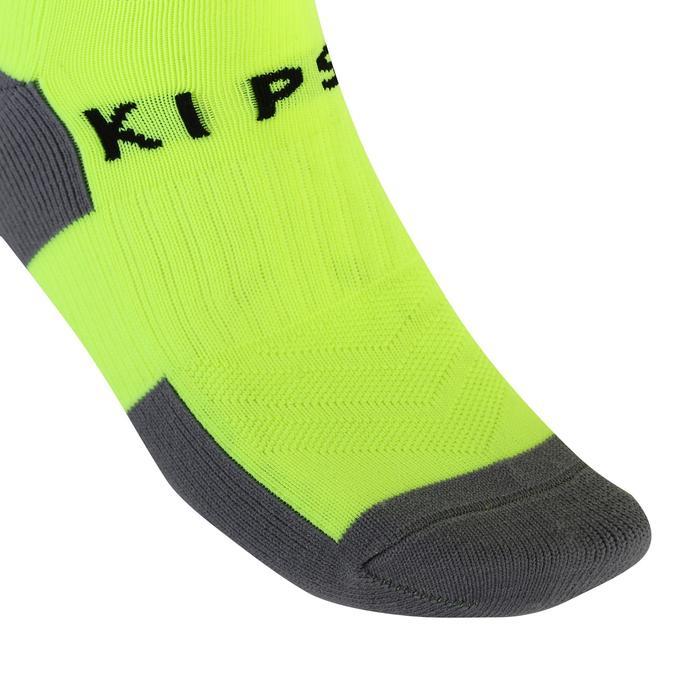 兒童款足球襪 F500 - 螢光黃條紋