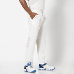 MEN'S MESHED STRAIGHT FIT CRICKET TRACKPANTS, WHITE 500, PURE WHITE