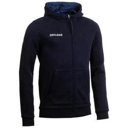 Gemoltoneerde hoodie voor rugby volwassenen Club R500 met rits blauw