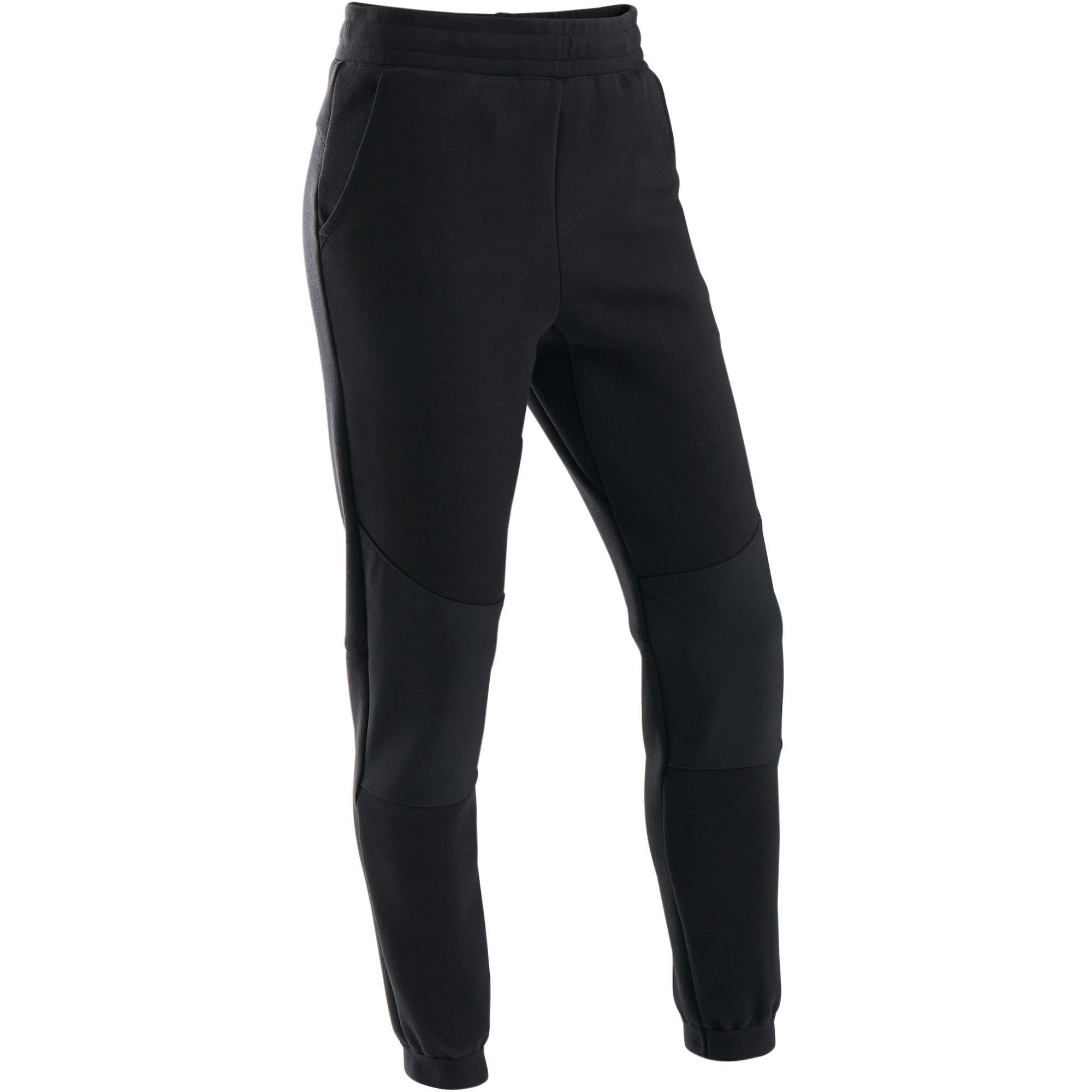 Jogginghose warm Slim Baumwolle atmungsaktiv robust 500 Gym Kinder schwarz