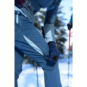 Pantalon chaud de randonnée femme SH520 x-warm gris-bleu