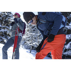 男款超保暖雪地健行長褲SH520-灰色/橘色。