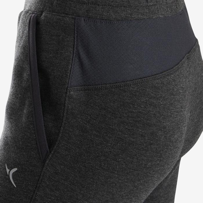 Jogginghose warm Slim Baumwolle atmungsaktiv robust 500 Gym Kinder grau meliert