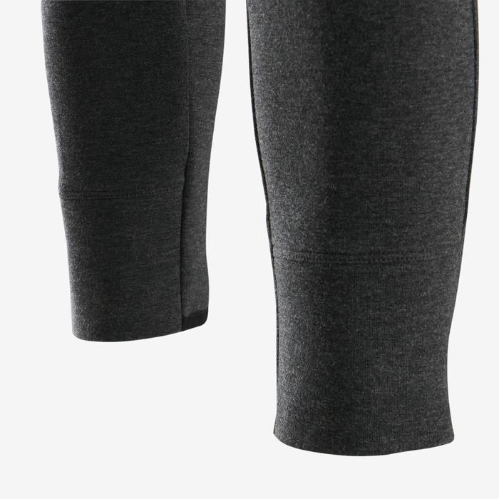 Pantalon chaud slim, coton respirant, 500 girl GYM ENFANT gris foncé chiné