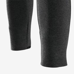 Warme gymbroek in ademend katoen voor meisjes 500 slim fit gemêleerd donkergrijs