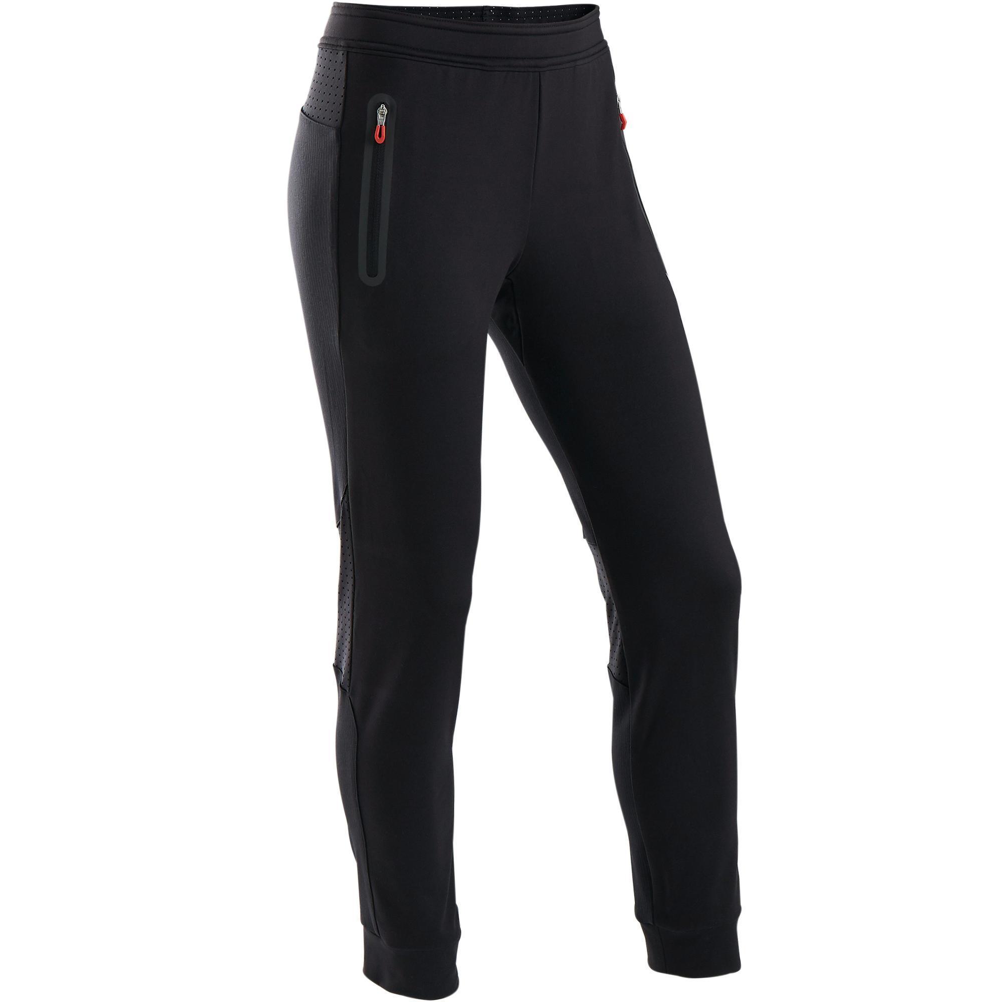 Trainingshose warm Slim S900 atmungsaktiv Gym Kinder schwarz/rot