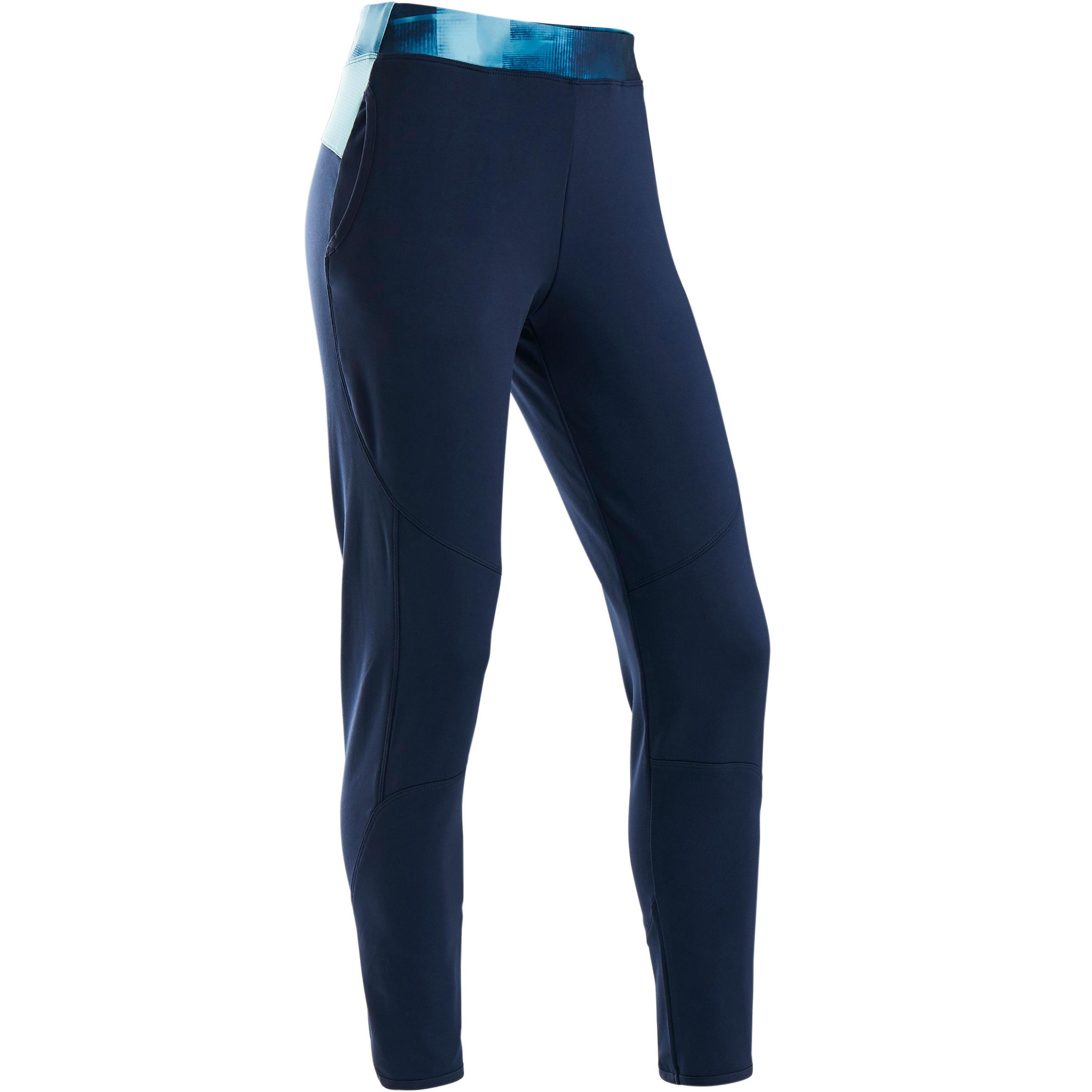 Trainingshose warm atmungsaktiv S500 GYM Kinder marineblau/ Bund blau bedruckt