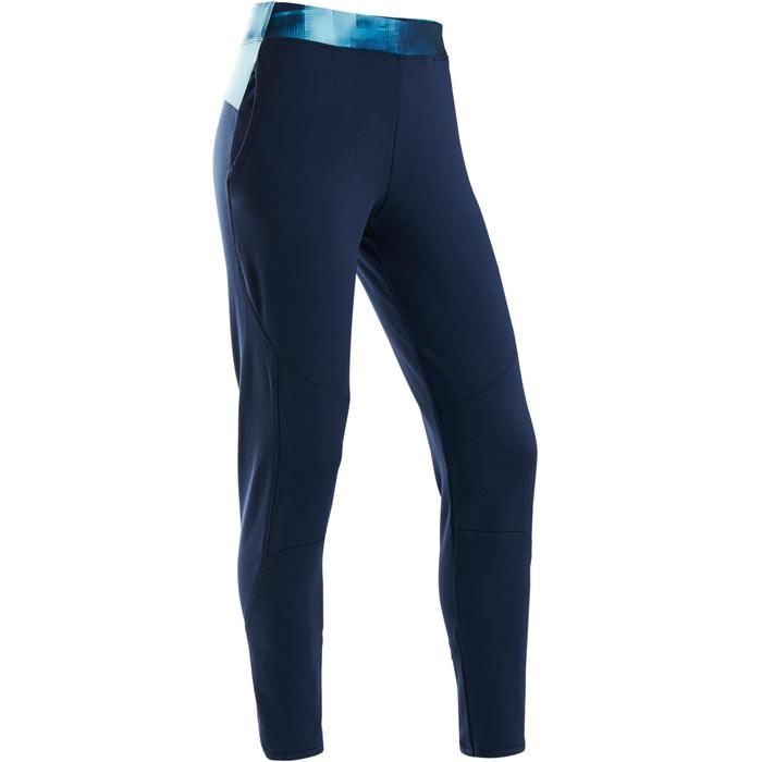 Trainingshose warm atmungsaktiv S500 GYM Kinder marineblau/ Bund blau bedruckt