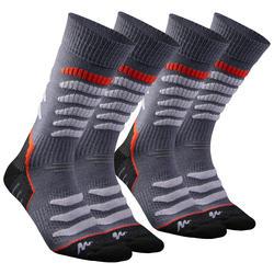 Calcetines cálidos de senderismo adulto SH920 x-warm mid gris / rojo