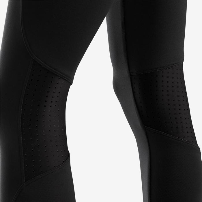 Legging chaud respirant S900 fille GYM ENFANT noir, face interne rouge