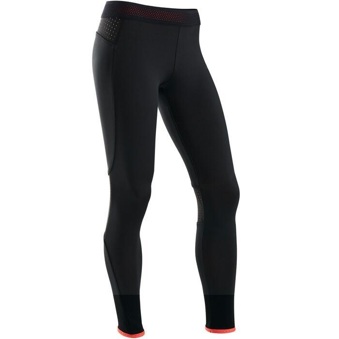 Warme en ademende legging voor gym meisjes S900 zwart/rood aan de binnenkant