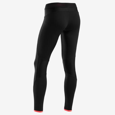 S900 Girls' Warm Breathable Gym Leggings - Black/Red Inside