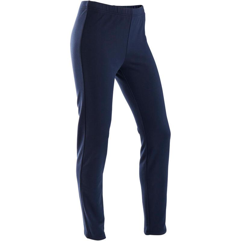 Pantalon slim french terry călduros 100 educație fizică și sport bleumarin copii